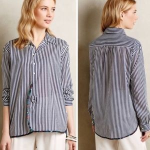 Anthro Holding Horses Button Down Striped Small